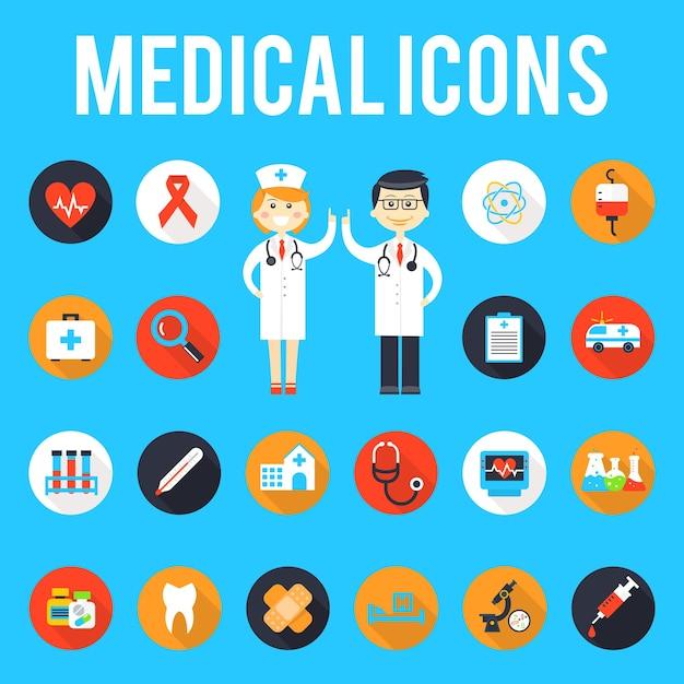 Ferramentas médicas e ícones planos de equipe médica. medicina e hospital, saúde médica, seringa e farmácia, equipamentos e emergência. Vetor grátis