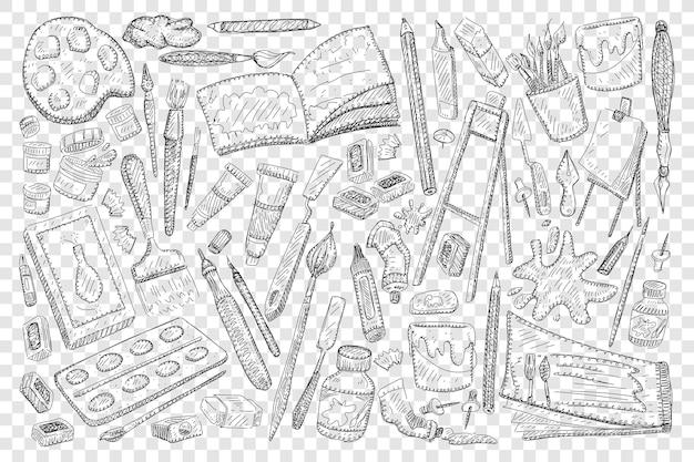 Ferramentas para pintar e desenhar ilustração de conjunto de doodle Vetor Premium