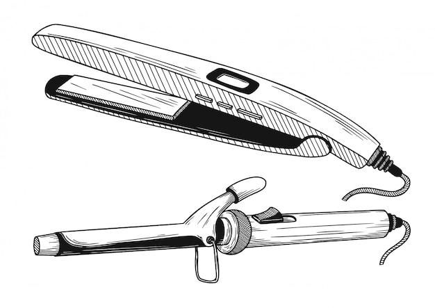 Ferro de frisar, alisador isolado Vetor Premium