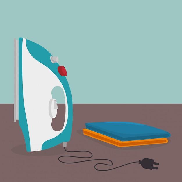 Ferro de passar roupa serviço de lavanderia elétrica Vetor grátis