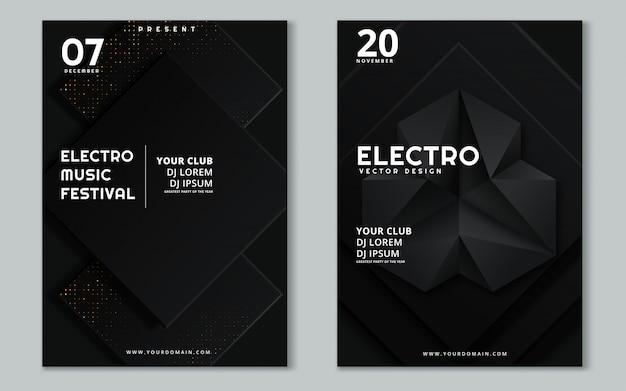 Fest de música eletrônica e cartaz de onda electro verão. Vetor Premium