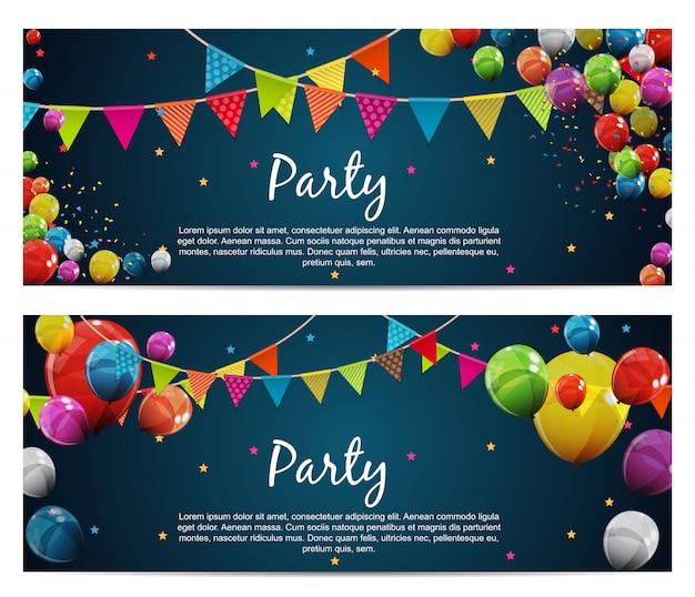 Festa aniversário fundo baner com bandeiras e balão Vetor Premium