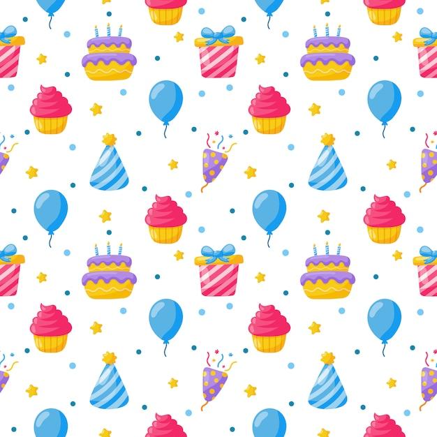 Festa celebração sem costura padrão. ícones de aniversário. itens festivos de carnaval em branco. Vetor Premium