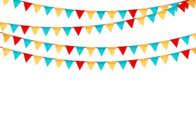 Festa com bandeiras Vetor Premium