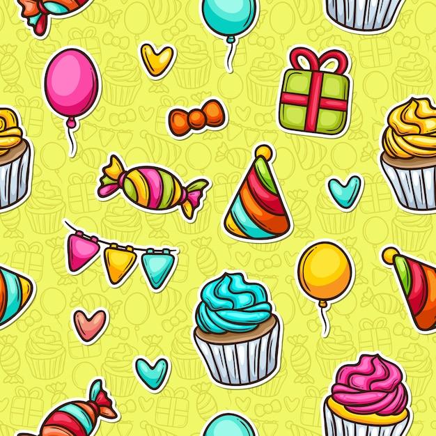 Festa cupcake doodle padrão sem emenda colorido Vetor grátis