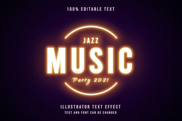 Festa da música jazz 2021,3d texto editável efeito de gradação amarela e roxo estilo de texto neon Vetor Premium