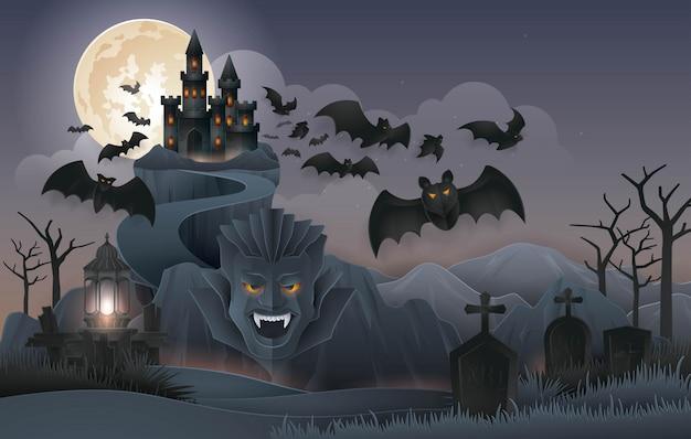 Festa da noite de halloween, castelo de dracula montanha da rocha com monstro de morcegos Vetor Premium