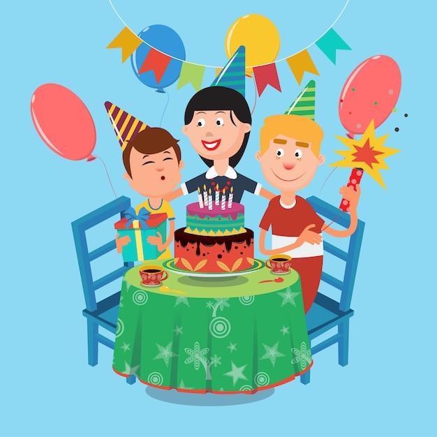 Festa de aniversário da família. família feliz comemorando o aniversário do filho. ilustração vetorial Vetor Premium