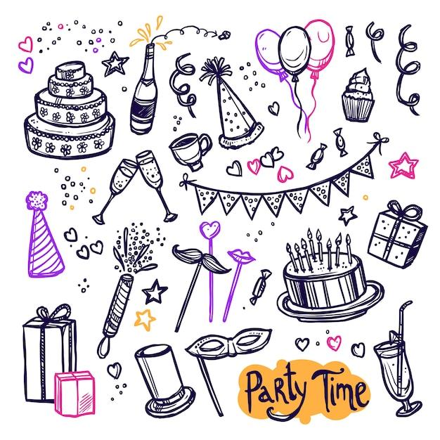 Festa de aniversário doodle arranjo de coleção de pictogramas Vetor grátis