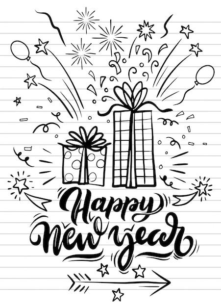 Festa de ano novo doodle elementos em preto isolado sobre o fundo Vetor Premium