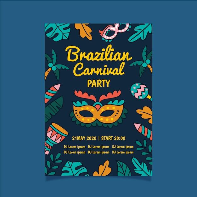 Festa de carnaval brasileira com néon deixa panfleto Vetor grátis