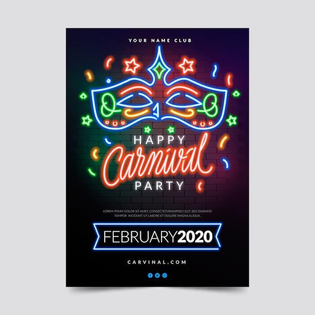 Festa de carnaval de néon em luzes coloridas Vetor grátis