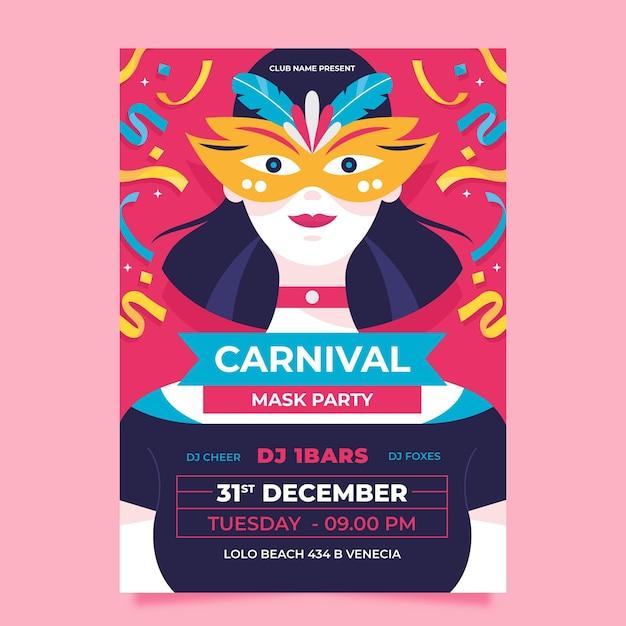Festa de carnaval veneziano com modelo de pôster de confete Vetor grátis