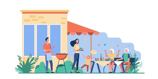 Festa de churrasco em família. feliz mãe, pai, avós e criança cozinhando carne para churrasco e jantando no quintal. ilustração vetorial para fim de semana, lazer, piquenique, união Vetor grátis