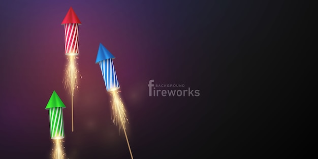 Festa de comemoração com tema de fogos de artifício e natal feliz ano novo design de plano de fundo Vetor Premium
