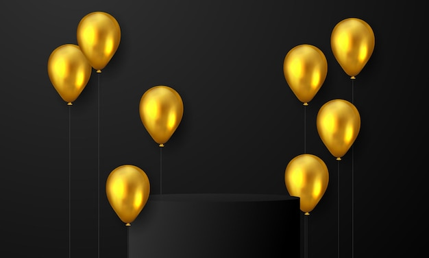 Festa de confraternização com fundo de balões de ouro. Vetor Premium