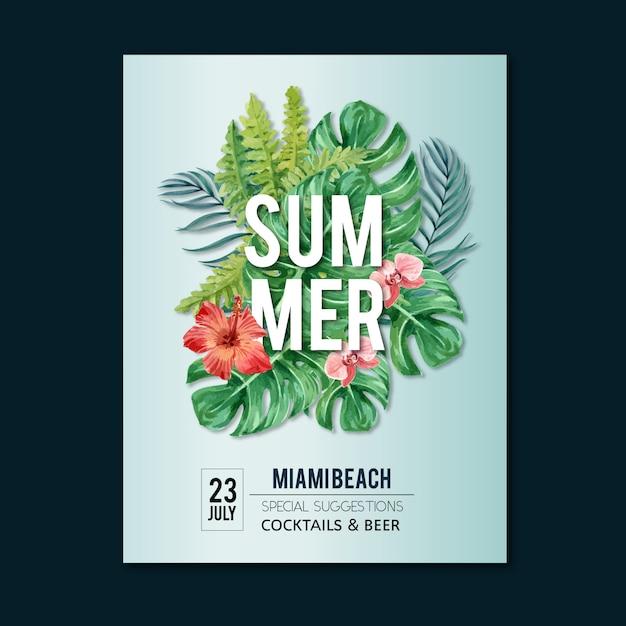 Festa de feriado do cartaz do verão na natureza da luz do sol do mar da praia. Vetor grátis