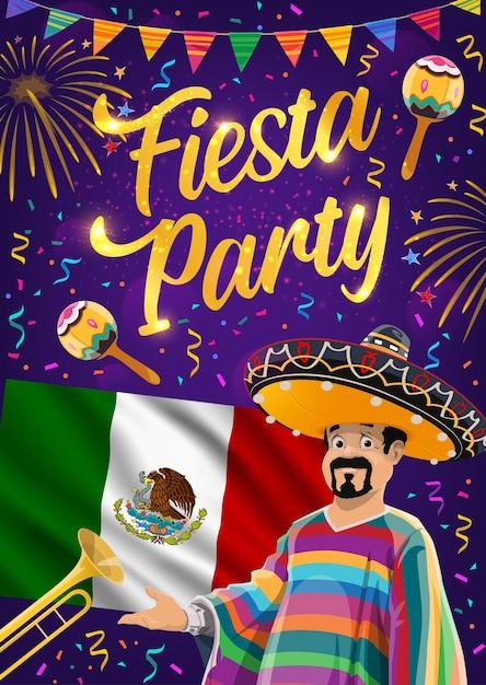 Festa de fiesta mexicana do design de viva méxico. bandeira mexicana, chapéu de maracas e sombrero, músico mariachi, trompete, bandeirolas festivas e fogos de artifício, cartão comemorativo do carnaval cinco de mayo Vetor Premium