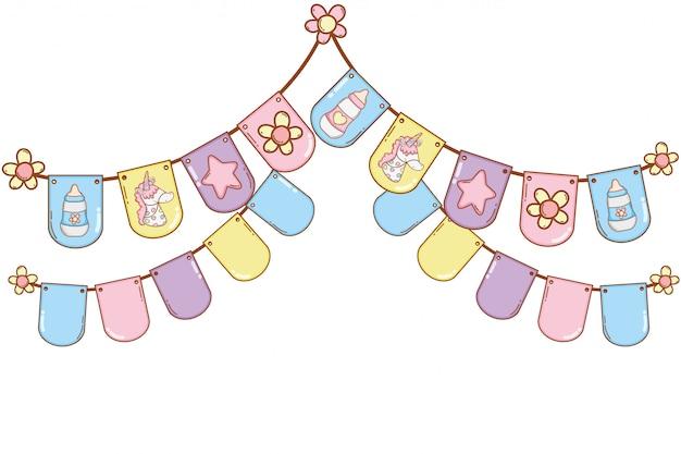 Festa de flâmulas de bebê Vetor Premium