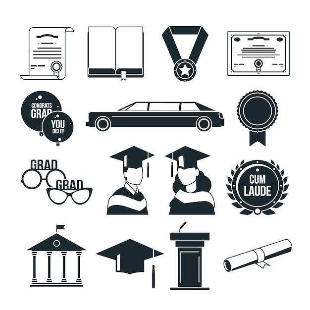 Festa de formatura de alunos em estilo monocromático. conjunto de ícones pretos. formado em universidade ou faculdade, ilustração de graduação com certificado Vetor Premium