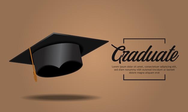 Festa de formatura de conceito de educação com tampa Vetor Premium