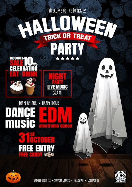 Festa de halloween, fantasma, guloseima ou truque. Vetor Premium
