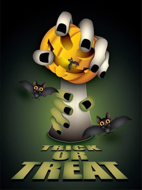 Festa de halloween feliz, arte de papel e estilo de artesanato. Vetor Premium