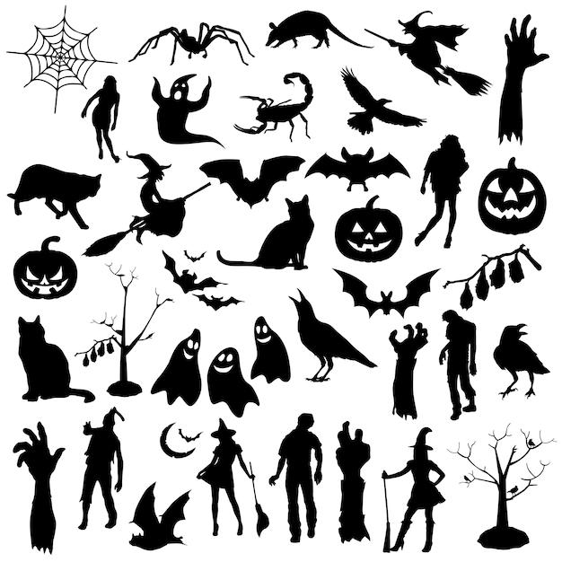Festa de halloween feriado silhueta clip art vector Vetor Premium