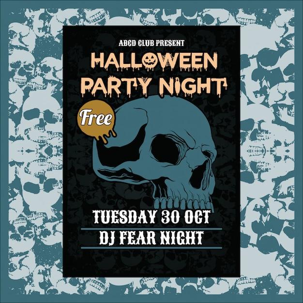 Festa de halloween noite fundo vertical com crânio Vetor Premium