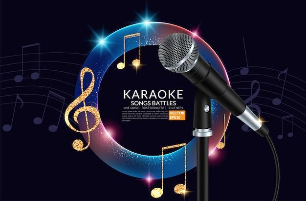 Festa de karaoke microfone e inscrição no fundo da arte. Vetor Premium