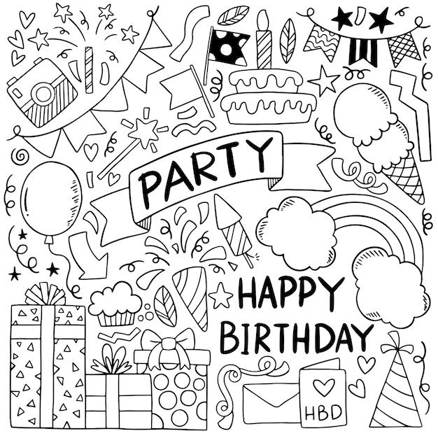 Festa de mão desenhada doodle feliz aniversário ornamentos ilustração de padrão de fundo Vetor Premium