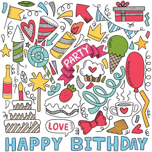 Festa de mão desenhada doodle feliz aniversário ornamentos ilustração Vetor Premium