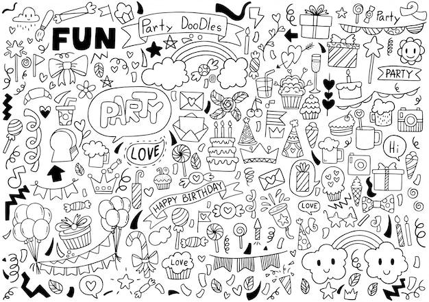 Festa de mão desenhada doodle feliz aniversário ornamentos padrão de fundo Vetor Premium