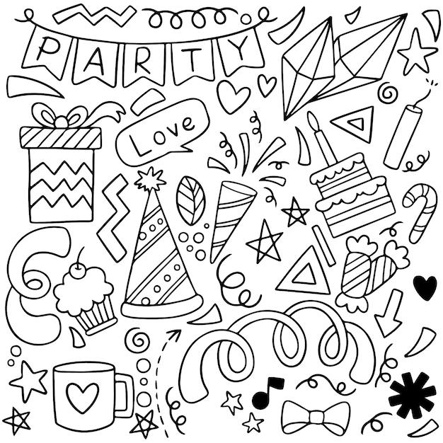 Festa de mão desenhada doodle feliz aniversário ornamentos Vetor Premium
