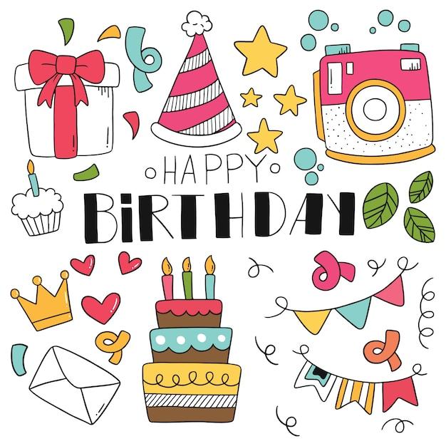 Festa de mão desenhada doodle feliz aniversário. Vetor Premium