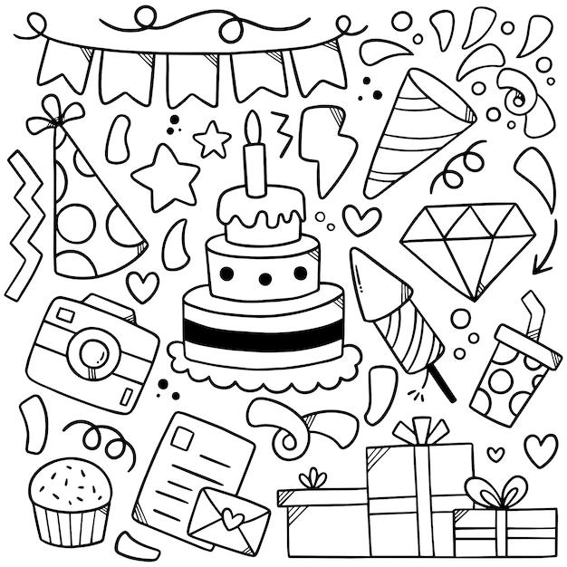 Festa de mão desenhada doodle feliz aniversário Vetor Premium
