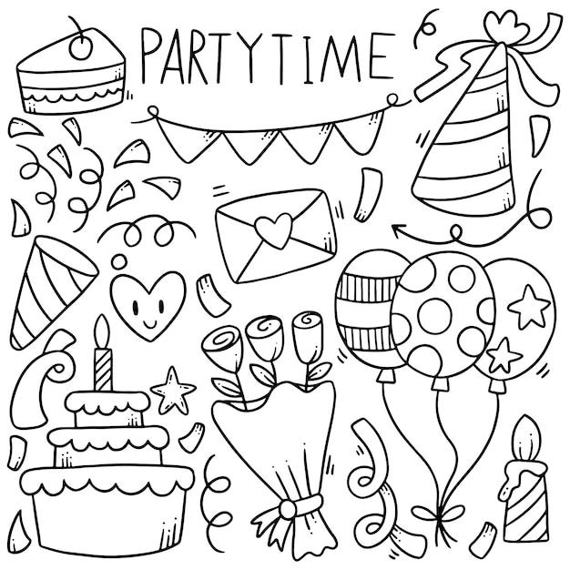 Festa de mão desenhada doodles elementos Vetor Premium