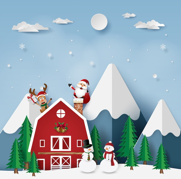 Festa de natal com papai noel na casa vermelha Vetor Premium