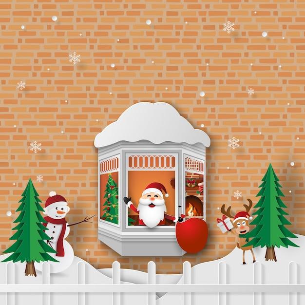 Festa de natal com papai noel na janela Vetor Premium