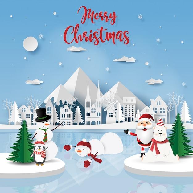 Festa de natal com papai noel no chão de gelo Vetor Premium