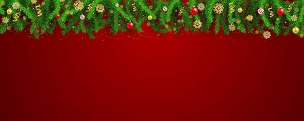 Festa de natal e feliz ano novo fundo de banner vermelho. Vetor Premium