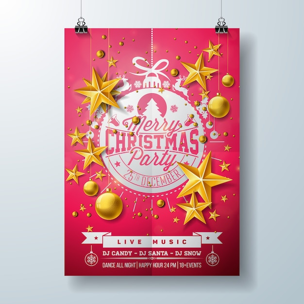 Festa De Natal Flyer Design Vetor Premium