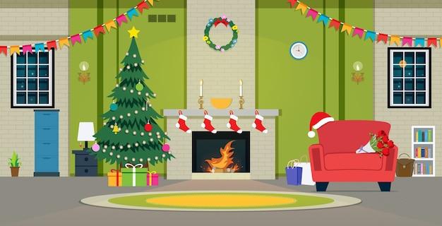 Festa de natal na sala com lareira Vetor Premium