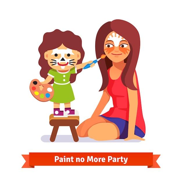 Festa de pintura de rosto. menina e sua professora Vetor grátis