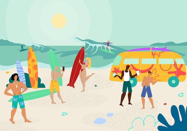 Festa de praia com pessoas desfrutando de verão quente. Vetor Premium