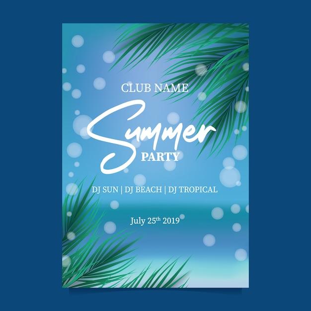 Festa de praia de verão com céu azul paraíso do oceano Vetor Premium