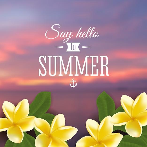 Festa de verão. cartaz de modelo. ilustração Vetor Premium