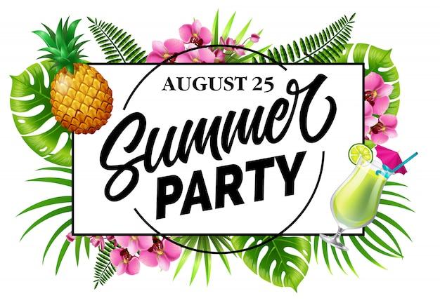 Festa de verão, convite de vinte e cinco de agosto com folhas tropicais, flores, abacaxi Vetor grátis