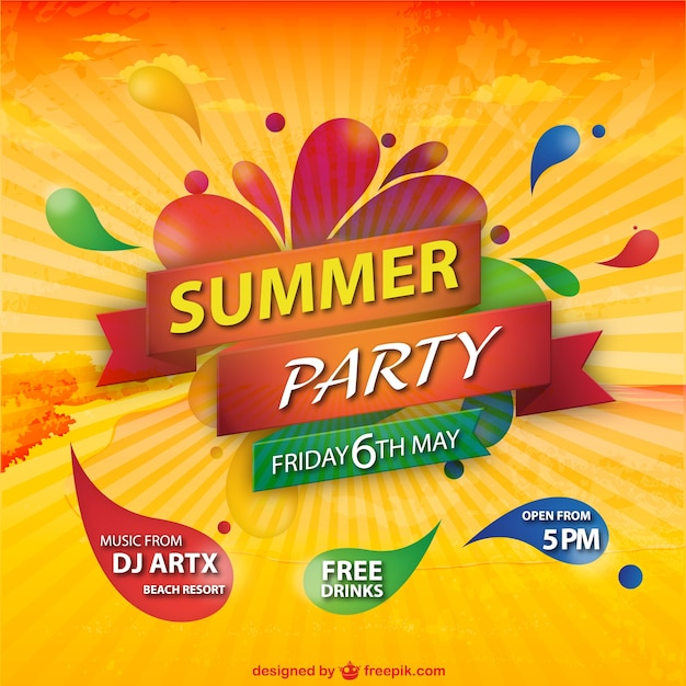 Festa de verão sunburst fundo colorido Vetor grátis