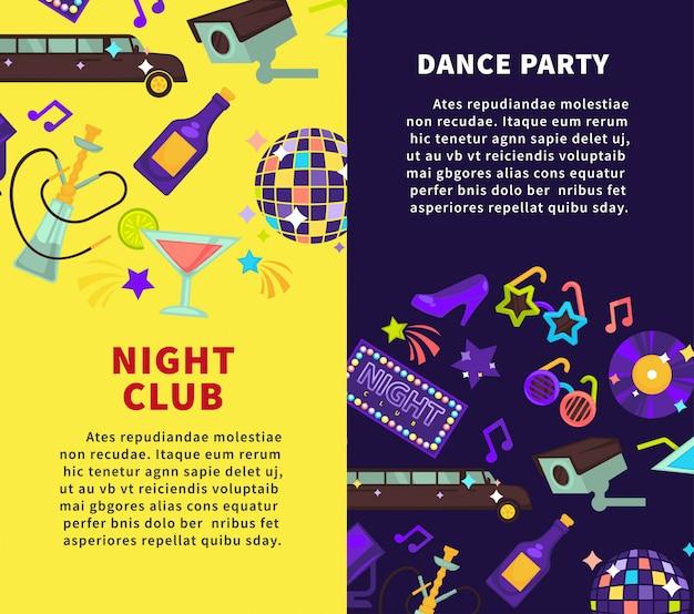 Festa do clube de noite e cartazes de vetor de festa de dança Vetor Premium